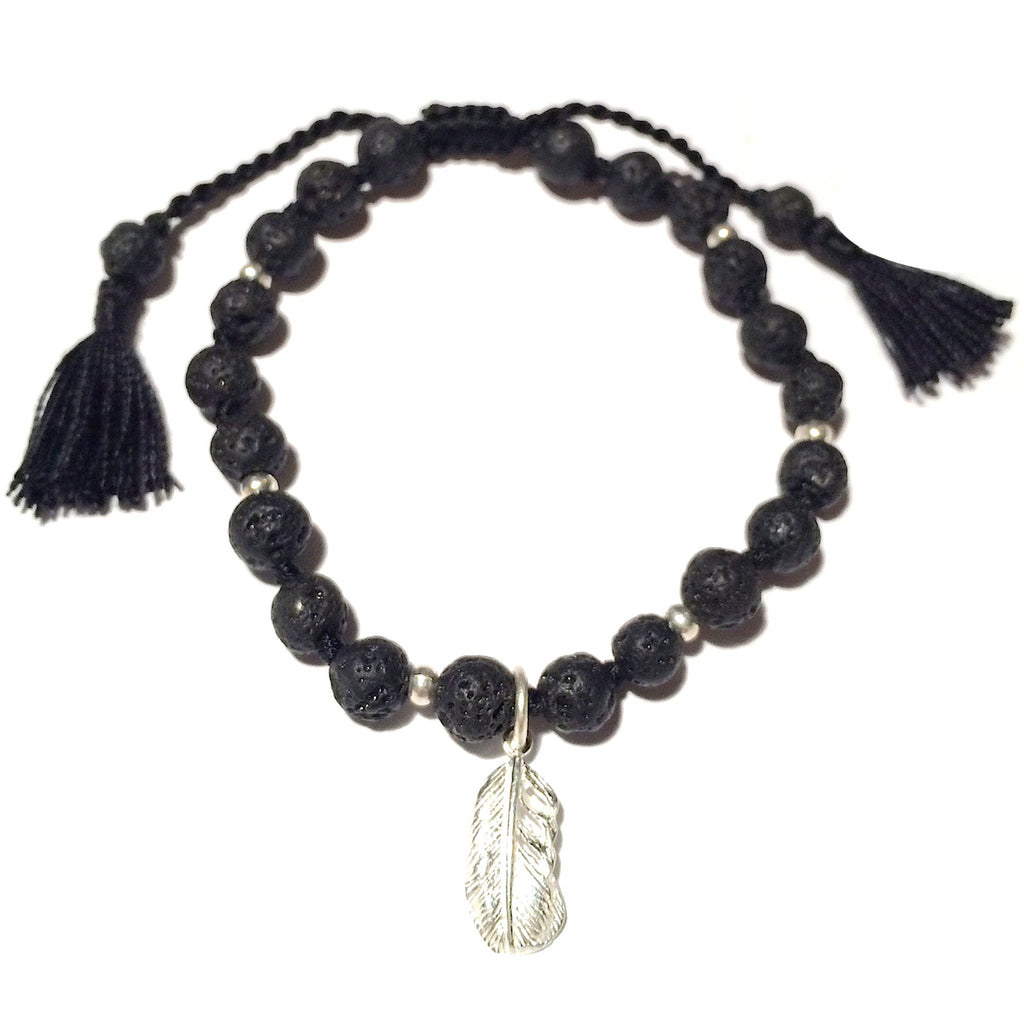 Lava Mala Bracelet Silver feather - Heart Mala