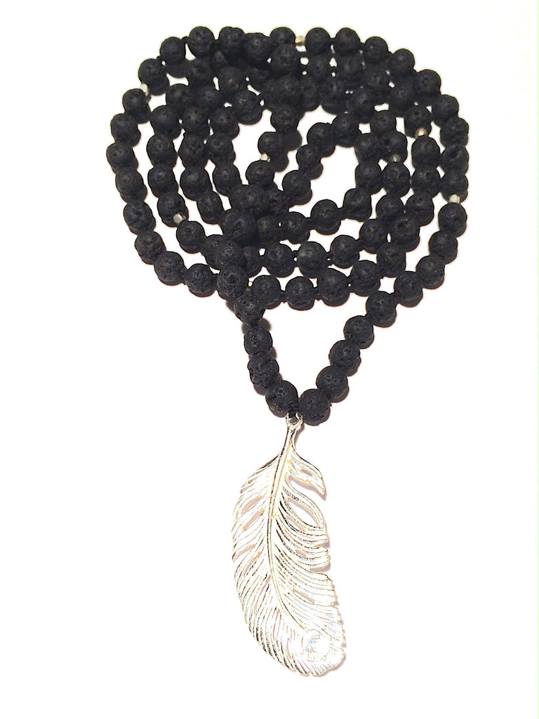 Lava Mala Beads yoga necklace silver Feather pendant
