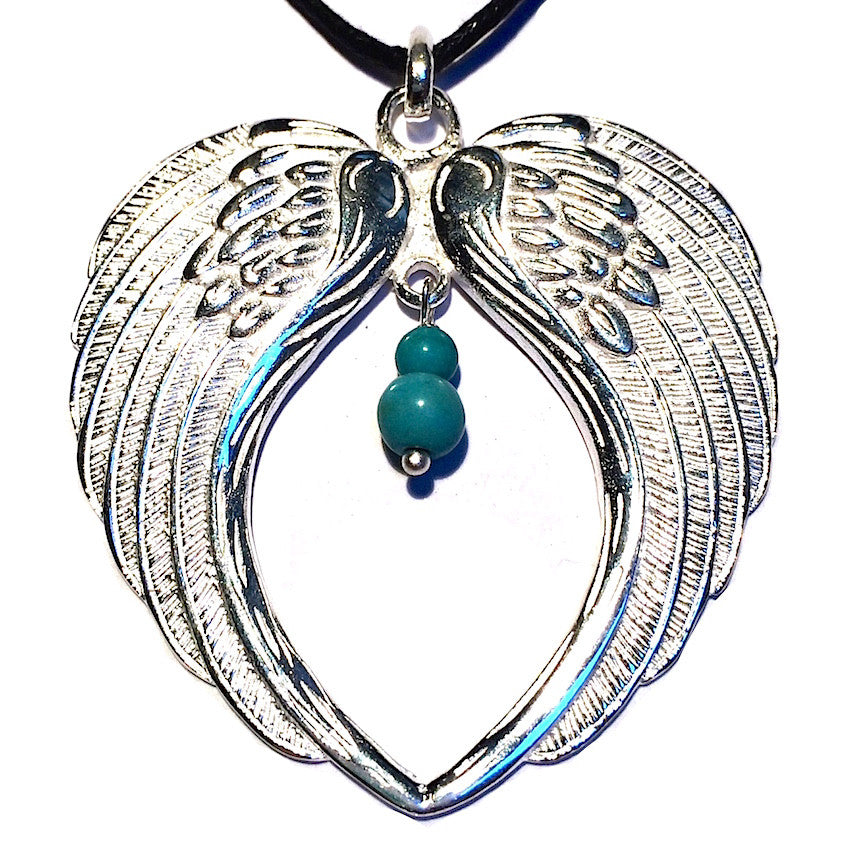 Angel Wings Silver Pendant with Turquoise - Heart Mala