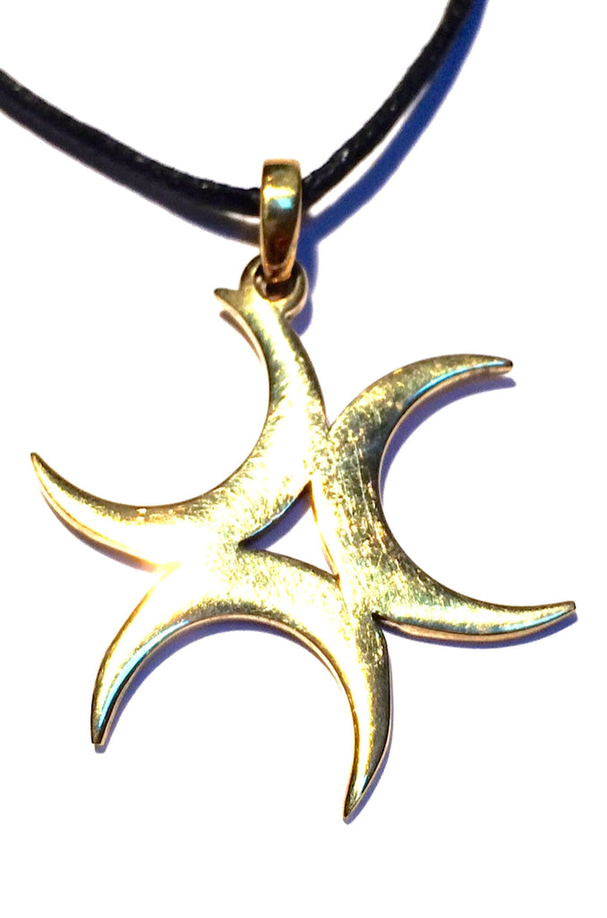 Triple Crescent Moon necklace Brass Pendant
