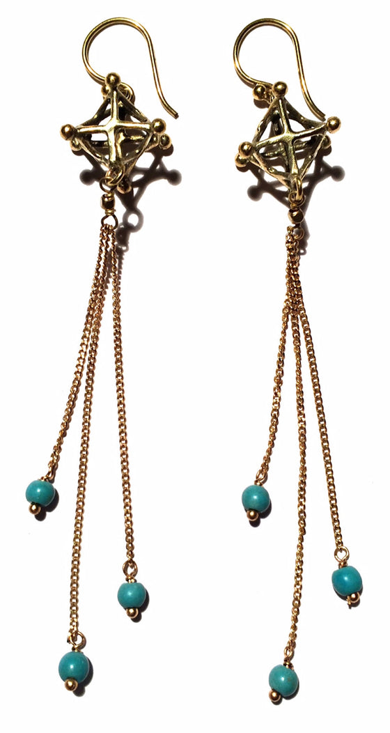 Merkaba Earrings brass chain & Turquoise - Heart Mala