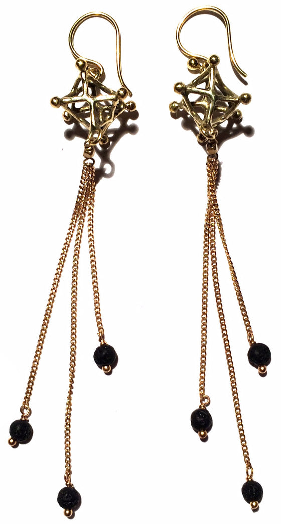 Merkaba Earrings brass chain & Lava Stone - Heart Mala