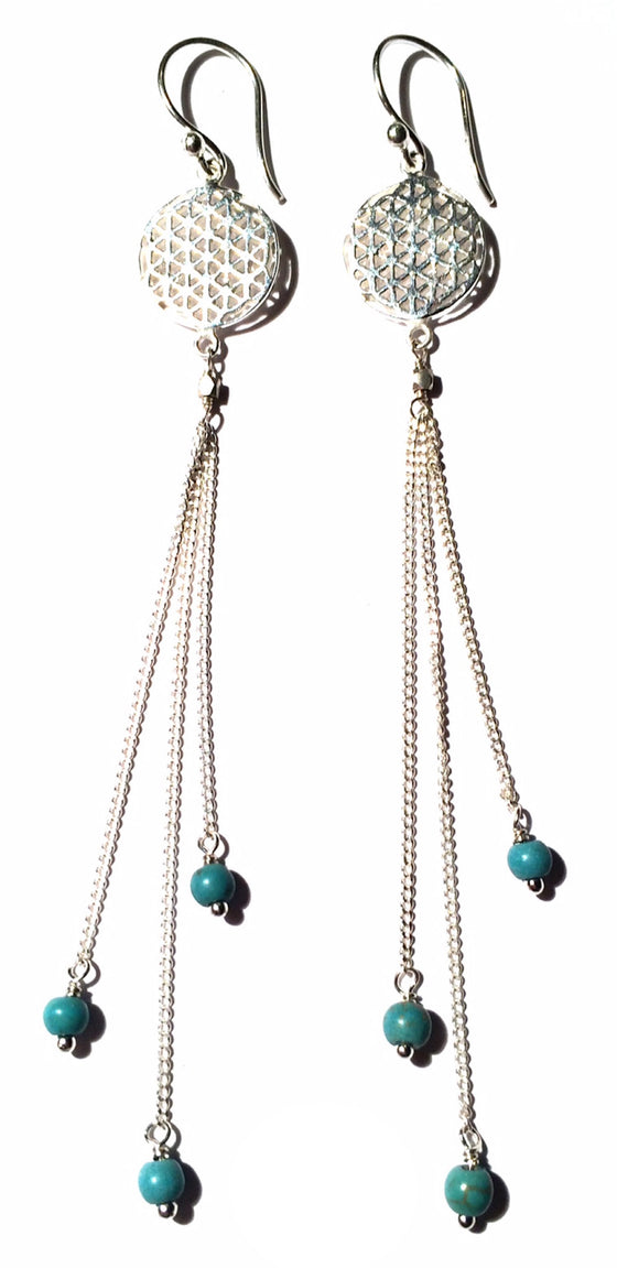 Flower Of Life Earrings silver chain & Turquoise - Heart Mala