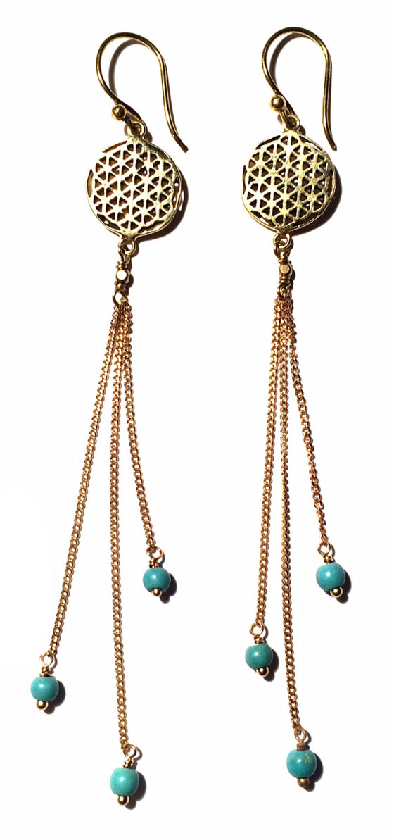Flower Of Life Earrings brass chain & Turquoise - Heart Mala
