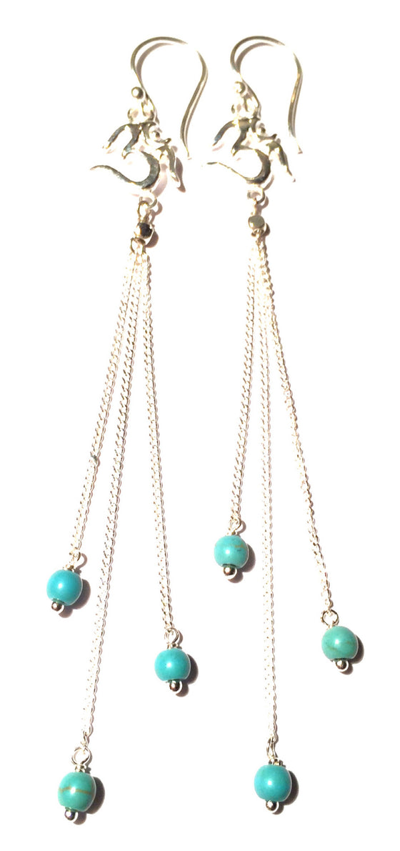 Om Earrings silver chain & Turquoise - Heart Mala