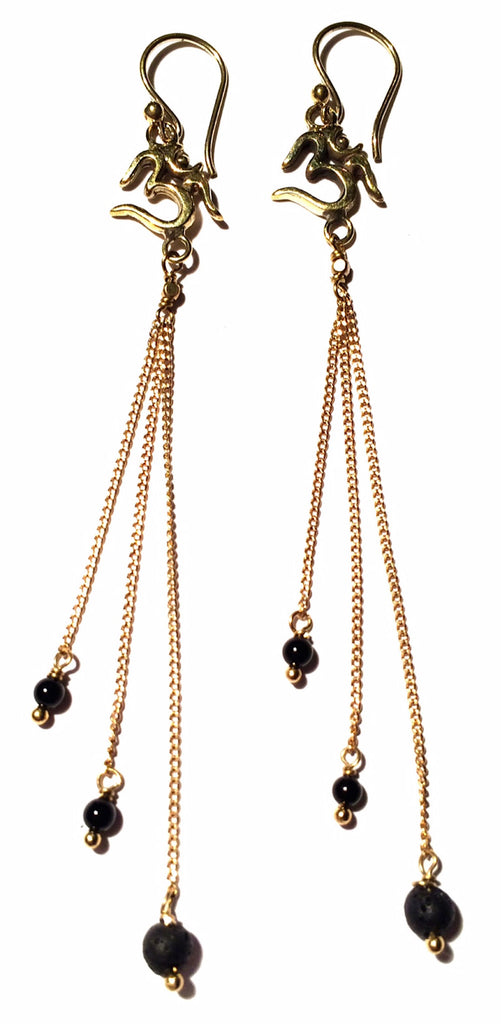Om Earrings brass chain & Lava Stone