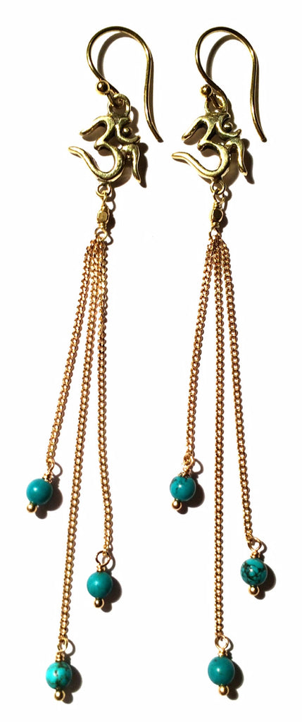 Om Earrings brass chain & Turquoise - Heart Mala