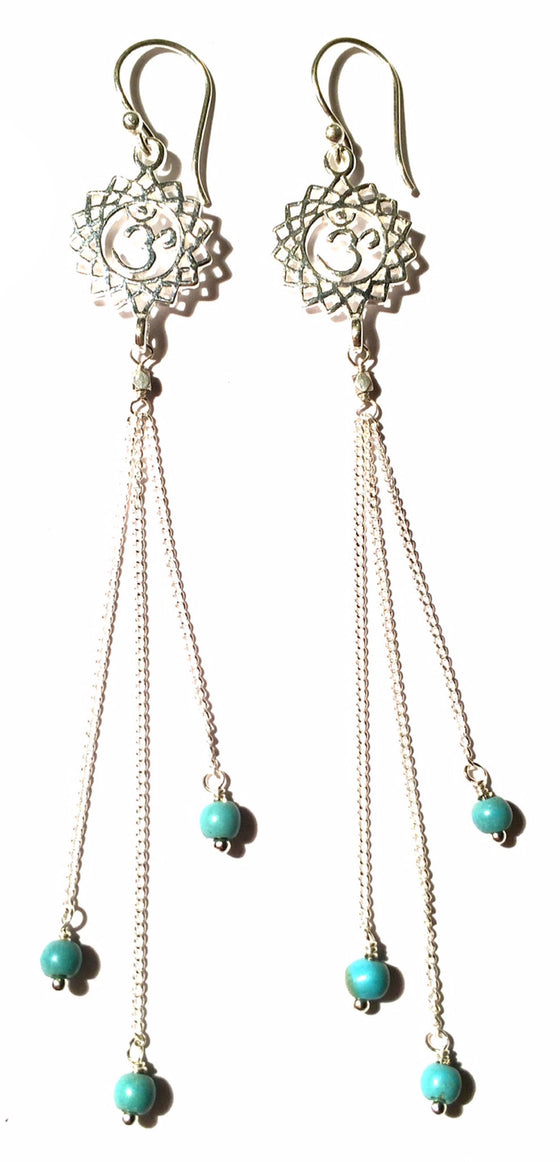 Crown Chakra Om Earrings silver chain & Turquoise - Heart Mala