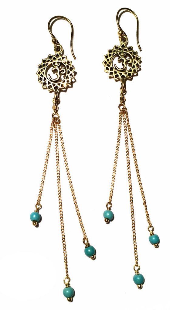 Crown Chakra Om Earrings brass chain & Turquoise - Heart Mala