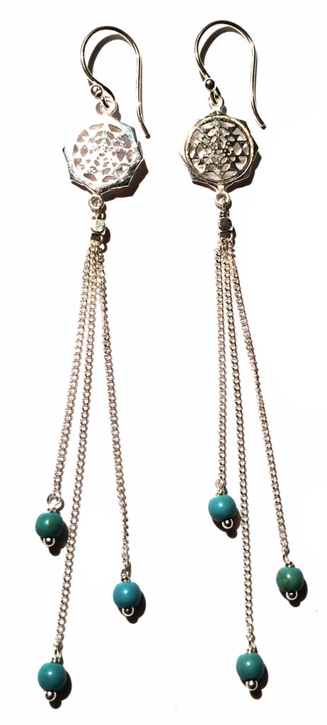 Sri Yantra Earrings silver chain & Turquoise - Heart Mala - 1