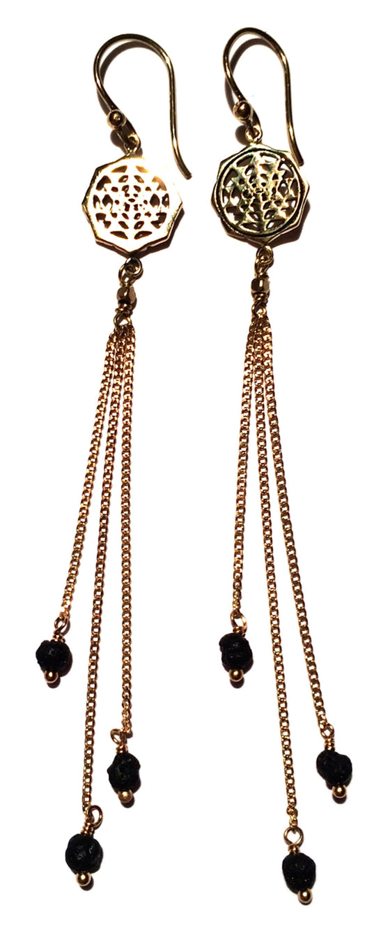 Sri Yantra Earrings brass chain & Lava Stone - Heart Mala