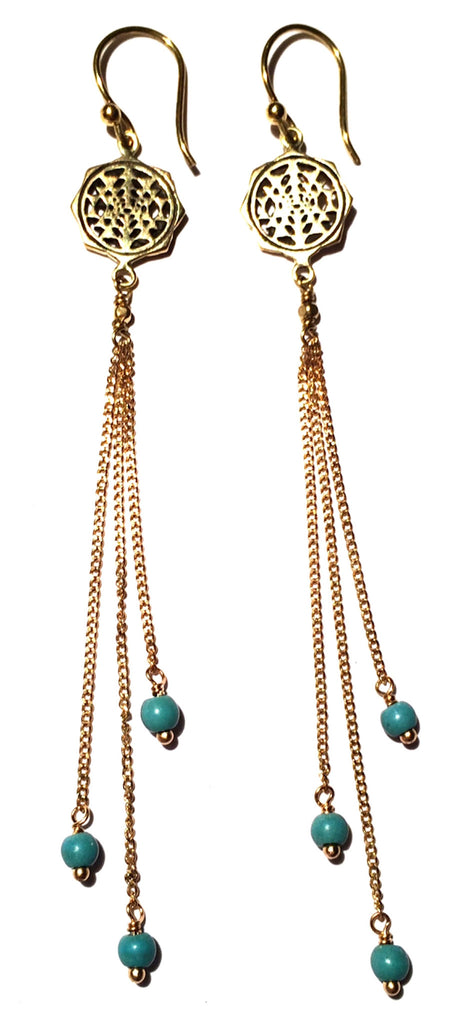 Sri Yantra Earrings brass chain & Turquoise - Heart Mala