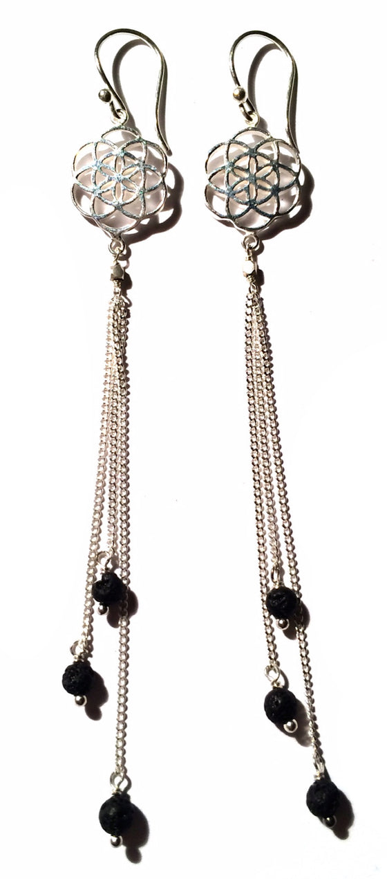Seed Of Life Earrings silver chain & Lava Stone - Heart Mala