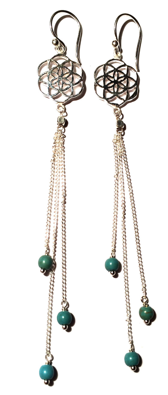 Seed Of Life Earrings silver chain & Turquoise - Heart Mala