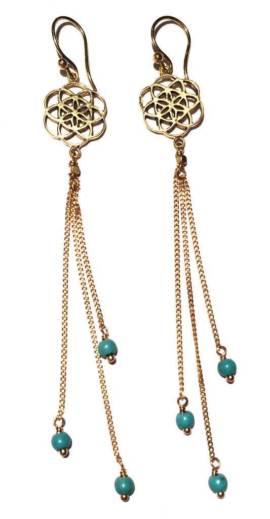 Seed Of Life Earrings brass chain & Turquoise - Heart Mala - 1