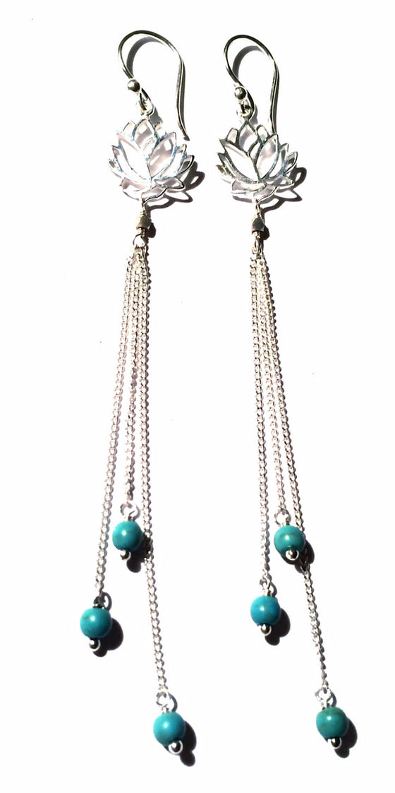 Lotus Earrings silver chain & Turquoise - Heart Mala