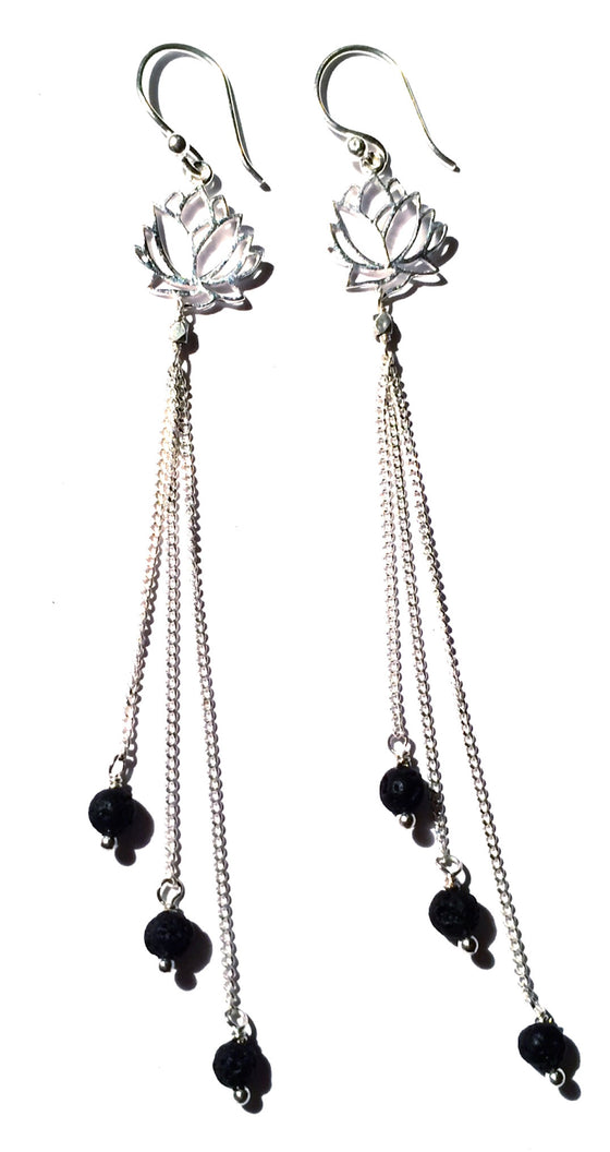 Lotus Earrings silver chain & Lava Stone - Heart Mala