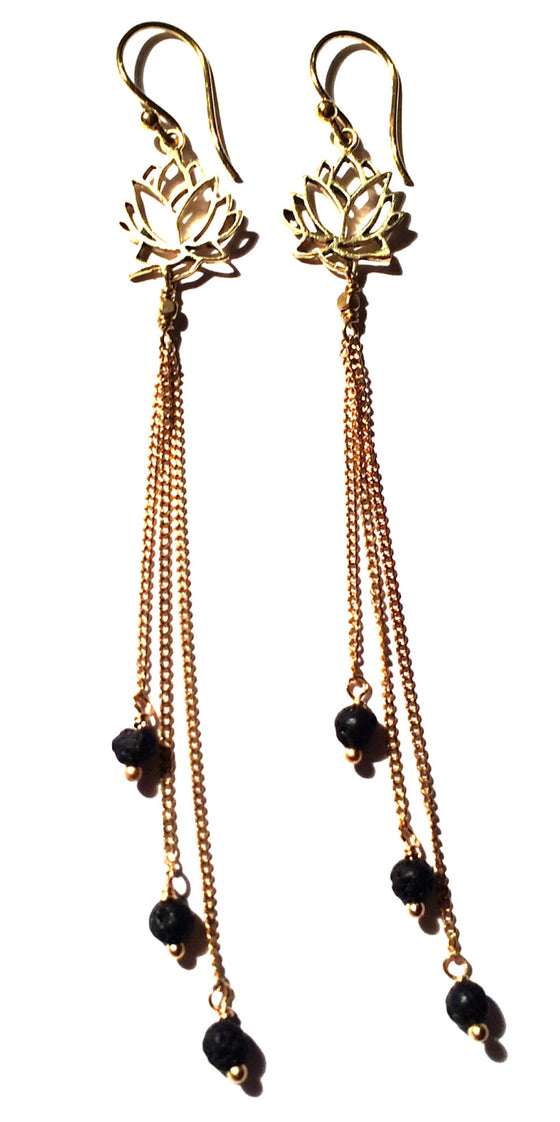 Lotus Earrings brass chain & Lava Stone - Heart Mala