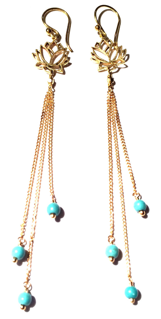 Lotus Earrings brass chain & Turquoise - Heart Mala