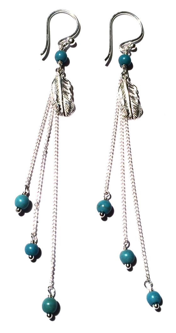 Feather Earrings silver chain & Turquoise - Heart Mala - 1
