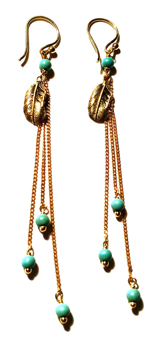 Feather Earrings brass chain & Turquoise - Heart Mala