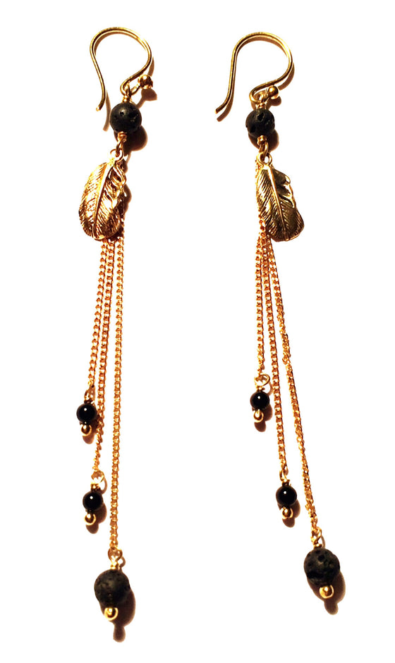 Feather Earrings brass chain & Lava Stone - Heart Mala