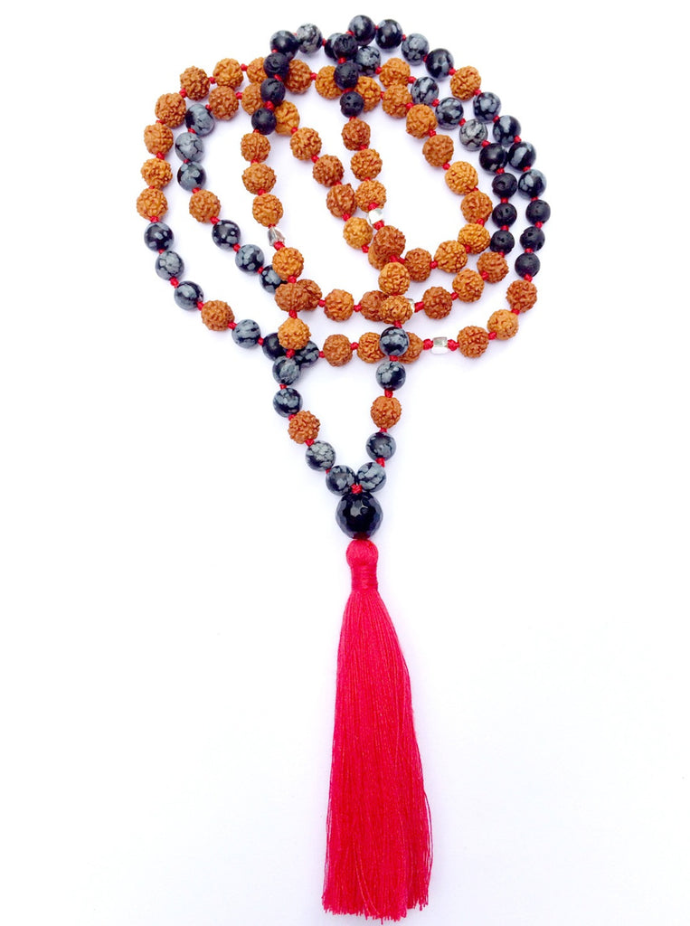 Mala prayer Beads yoga necklace handmade from Snowflake Obsidian, Lava, Onyx, rudraksha