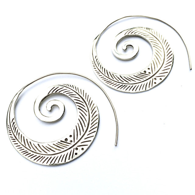LEAF TRIBAL SPIRAL Silver earrings - Heart Mala