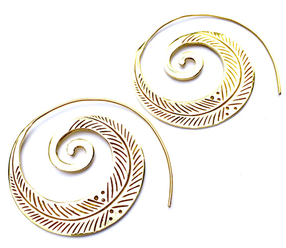 LEAF TRIBAL SPIRAL Brass earrings - Heart Mala