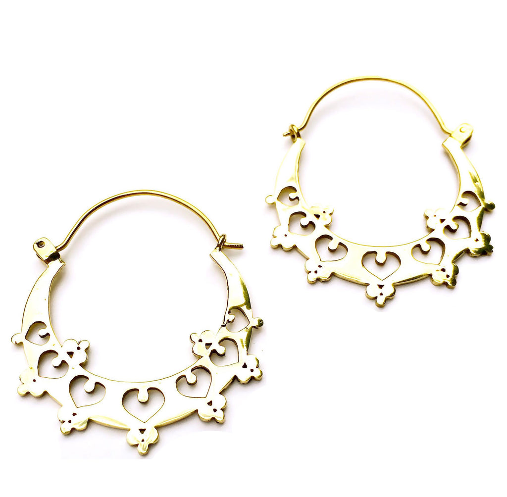 TRIBAL HEARTS brass earrings