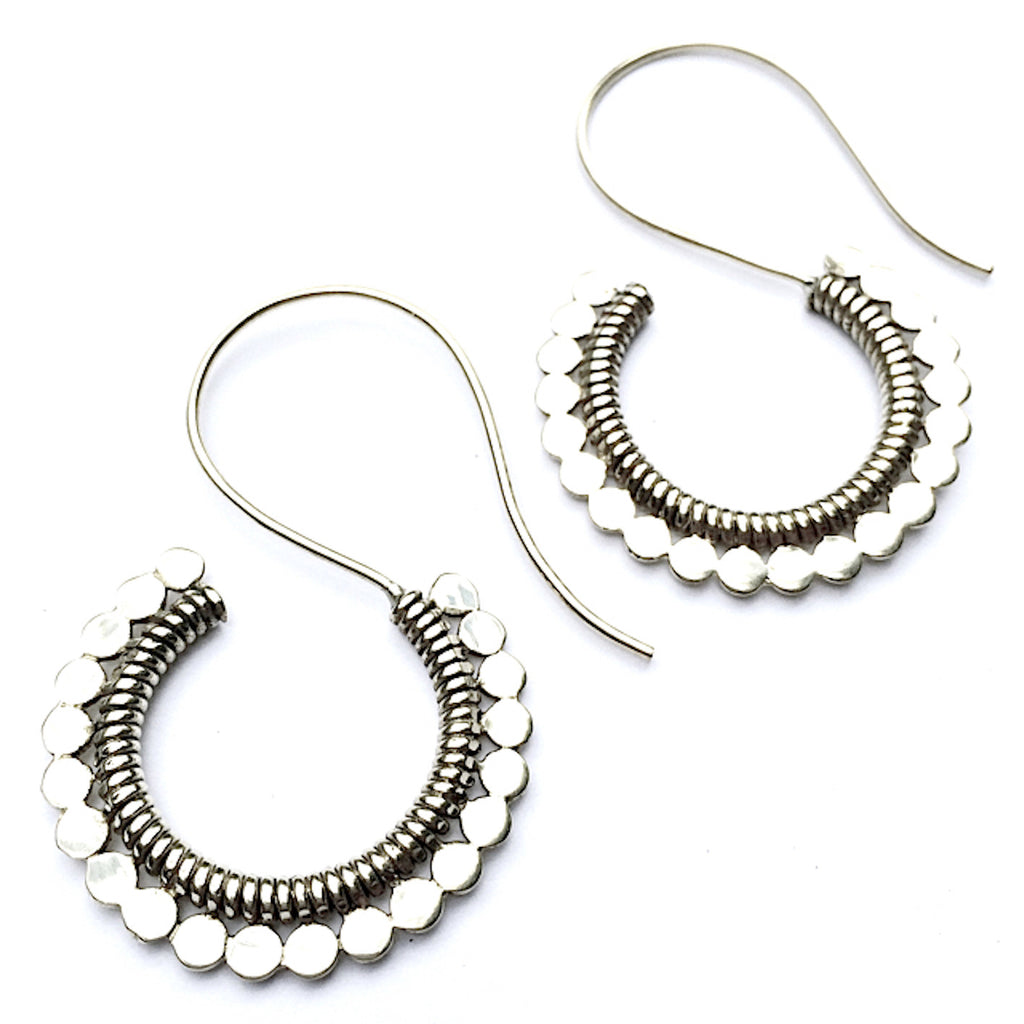 tribal curl silver earrings - Heart Mala