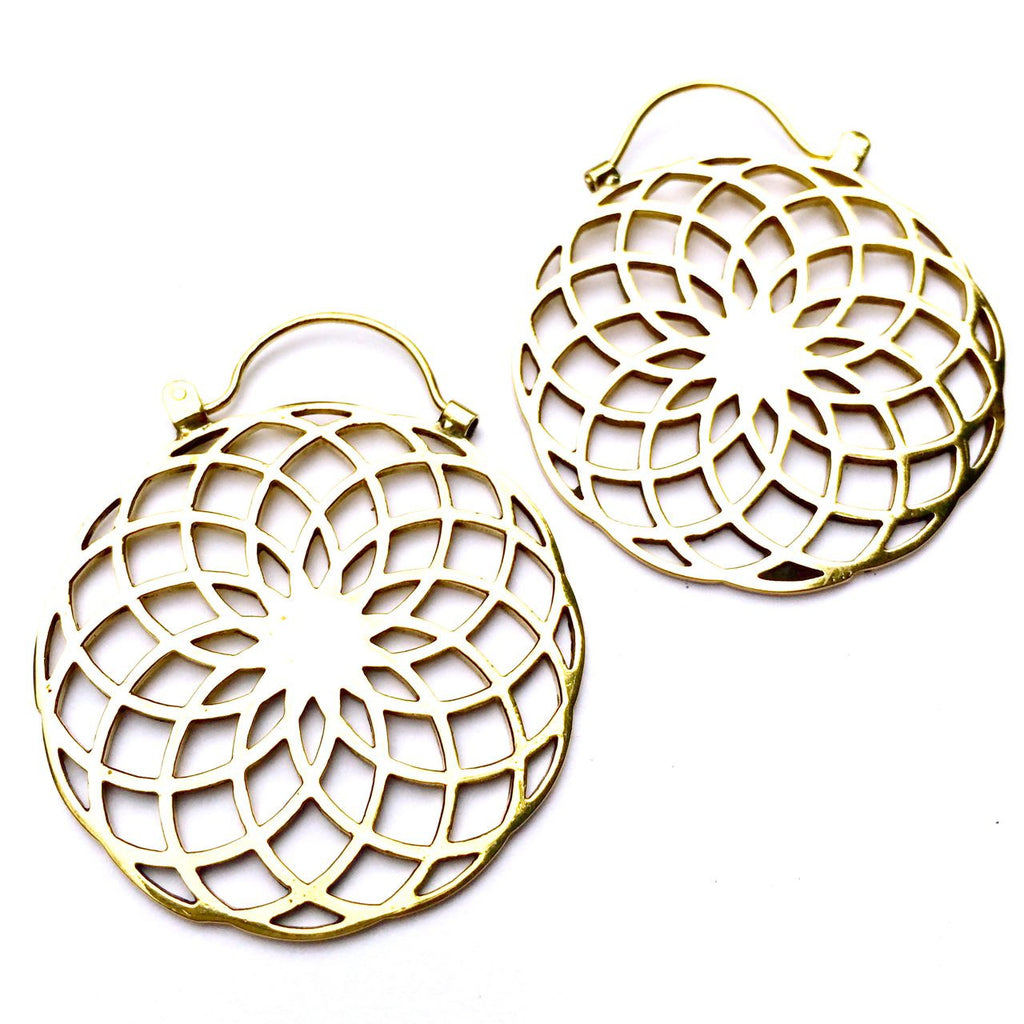 Sunflower Sacred Geometry Brass Earrings - Heart Mala - 1