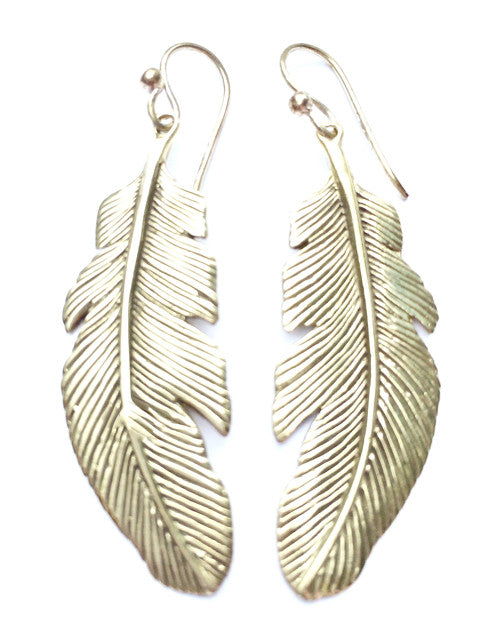 Eagle Feather Brass Earrings - Heart Mala