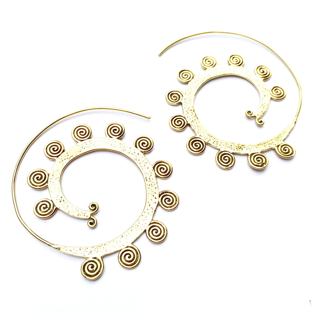 TRIBAL SPIRALS Lg Brass earrings - Heart Mala