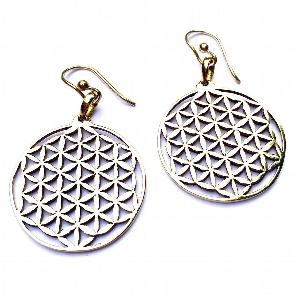 FLOWER OF LIFE Brass Sacred Geometry Earrings
