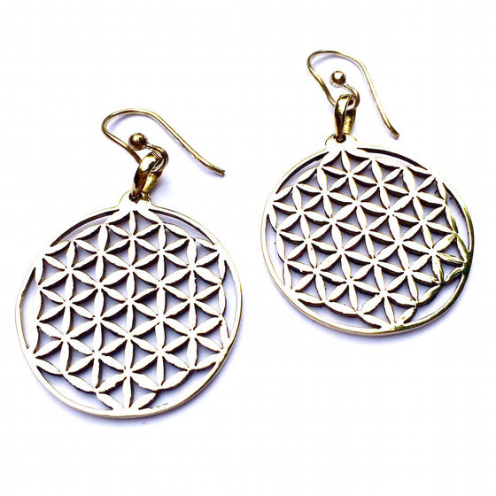 FLOWER OF LIFE Brass Earrings - Heart Mala