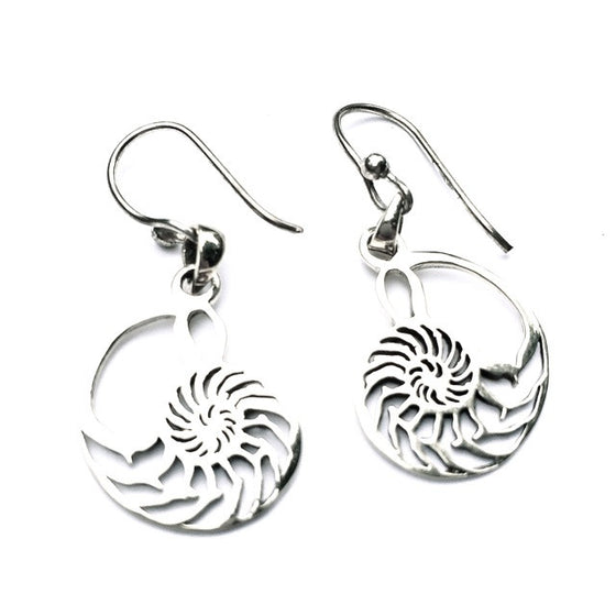 Nautilus Shell Sacred Geometry Silver Earrings - Heart Mala
