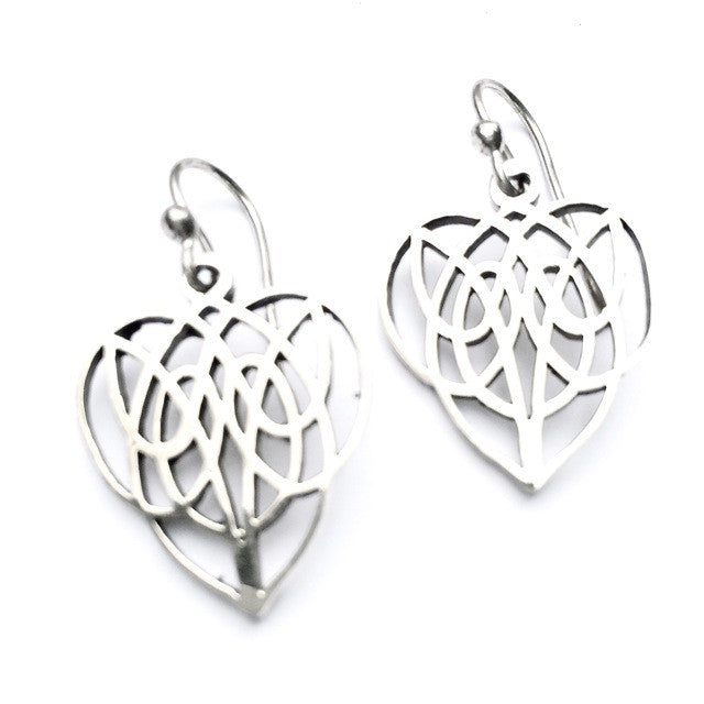 TRIBAL CELTIC HEART silver earrings