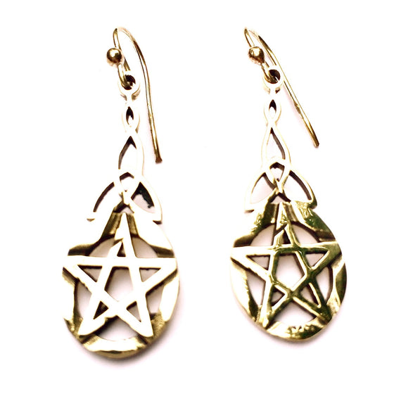 celtic pentagram brass earrings - Heart Mala
