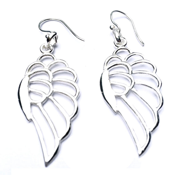 ANGEL WING Silver Earrings - Heart Mala