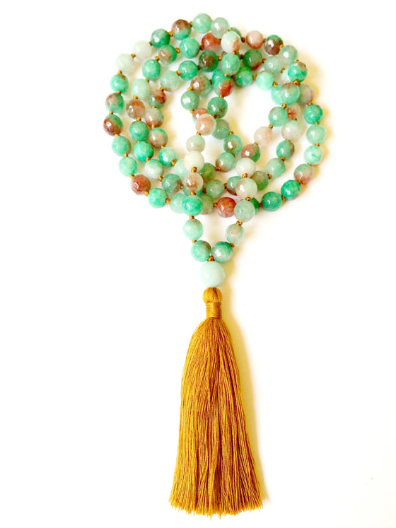 EARTH ELEMENT MALA BEADS: Green Agate - Heart Mala