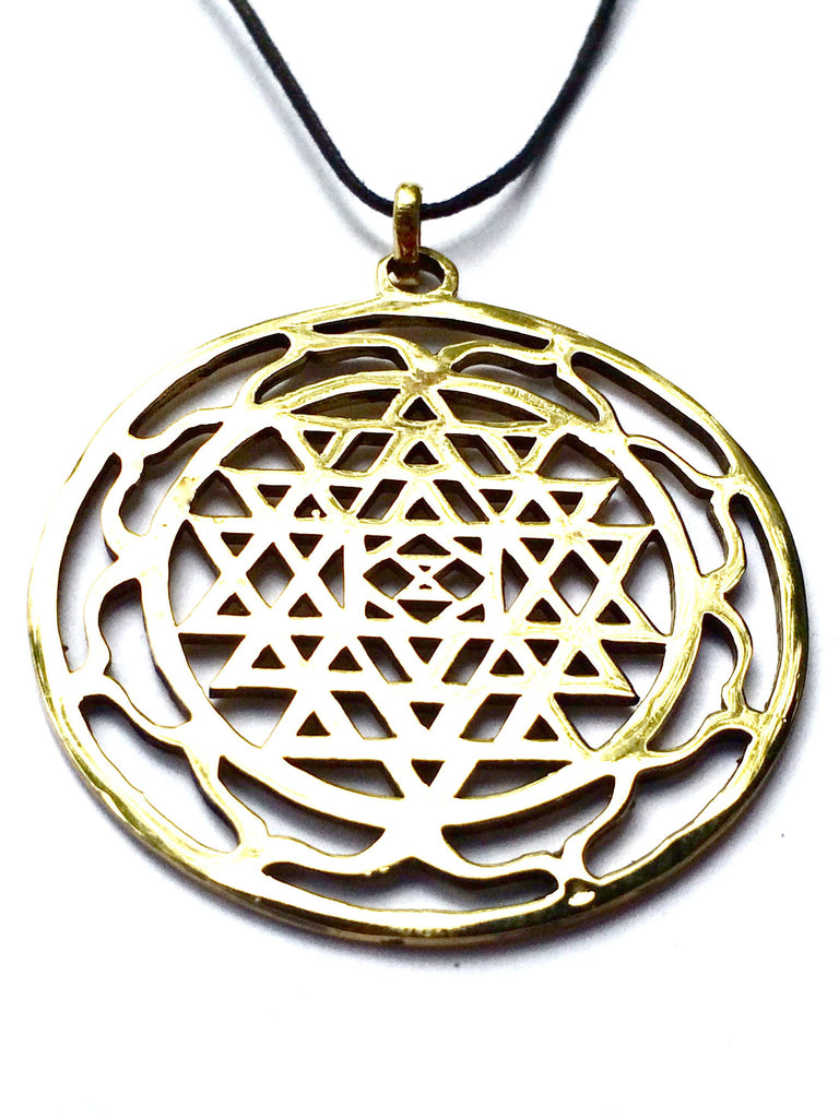 Sri Yantra brass pendant sacred geometry necklace