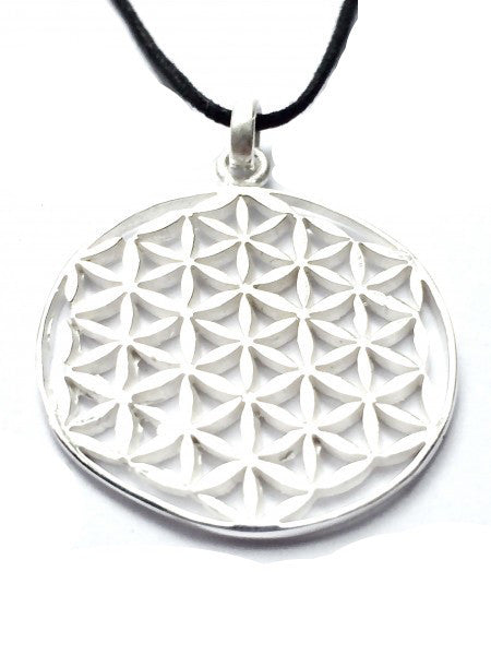 Flower of Life Large Silver Pendant - Heart Mala Byron Bay