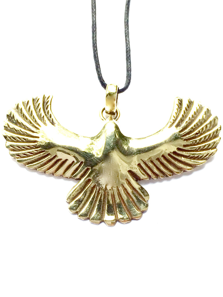 Eagle Brass Pendant - Heart Mala