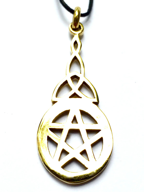 celtic pentagram brass pendant - Heart Mala