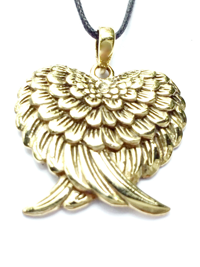 Angel Wing Heart Brass Pendant Necklace