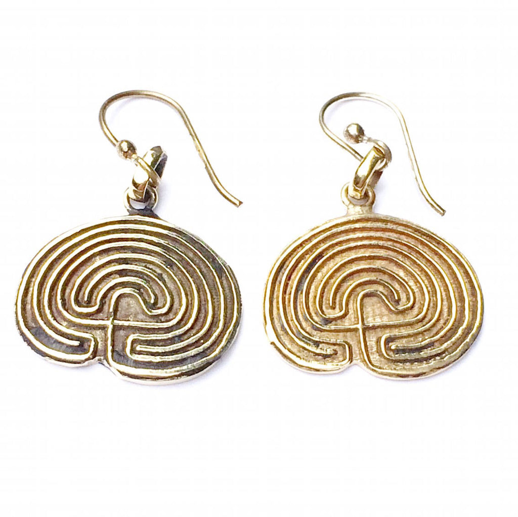 Hopi Labyrinth Brass earrings - Heart Mala