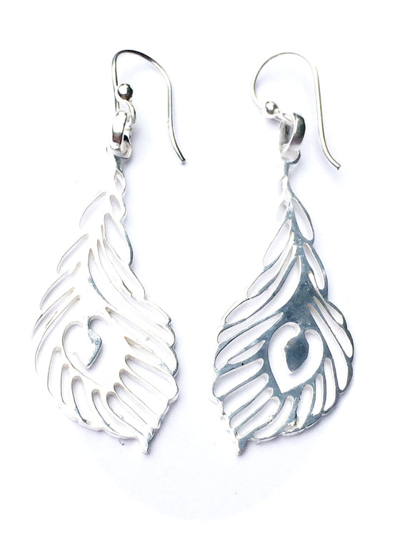 Peacock Feather sm Silver Earrings - Heart Mala