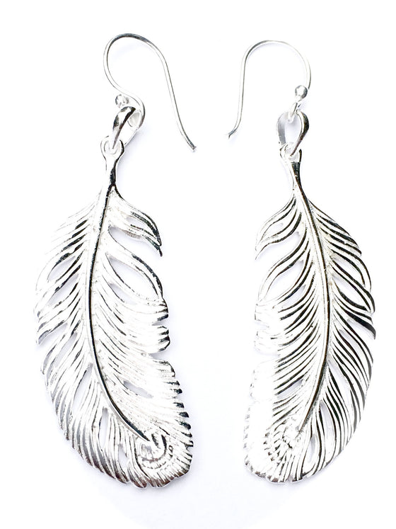 Peacock Feather Silver Earrings - Heart Mala