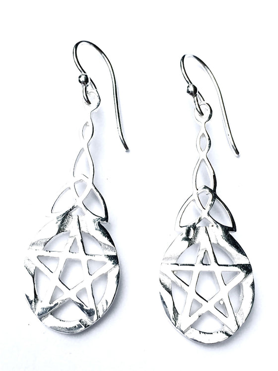 celtic pentagram silver earrings - Heart Mala